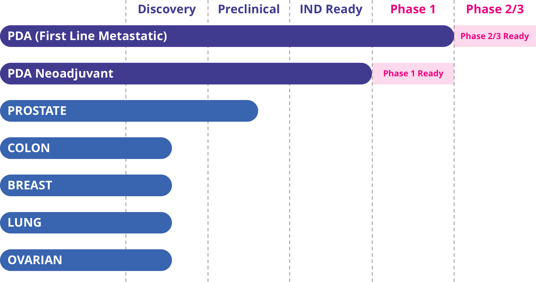 graph showing PDA (First Line Metastatic) as Phase2/3 ready, PDA Neoadjuvant as Phase 1 ready, Prostate as Preclinical, and Colon, Breast, Lung and Ovarian as Discovery phase